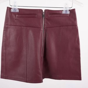Bershka Women's A-line Mini Skirt Maroon Burgundy